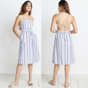 Marine Layer Lily Linen Blue White Stripe Dress